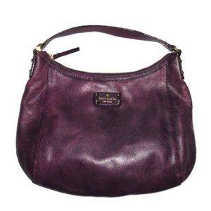 Kate Spade Hobo Bag Purple Leather Purse Gold Distressed